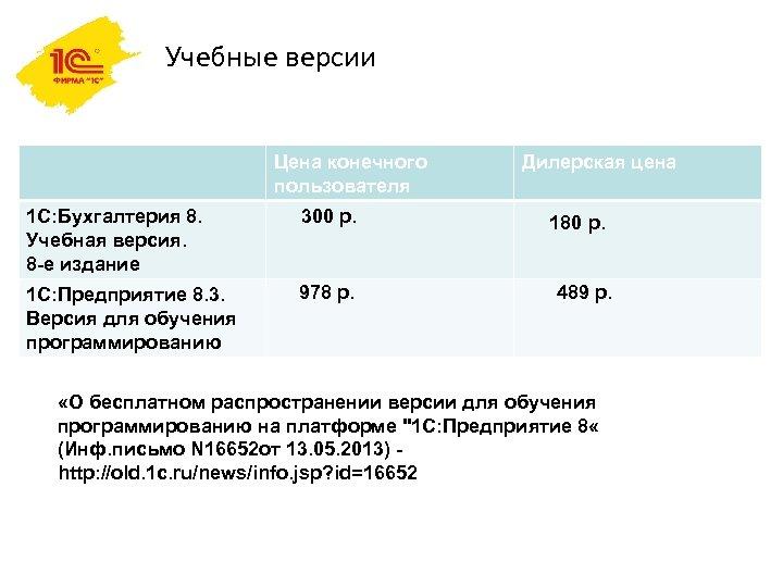 Учебные версии Цена конечного пользователя Дилерская цена 1 C: Бухгалтерия 8. Учебная версия. 8