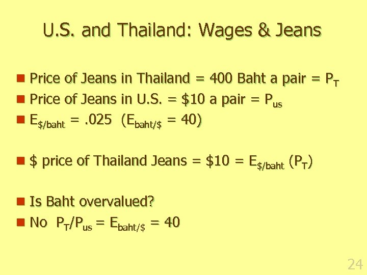 U. S. and Thailand: Wages & Jeans n Price of Jeans in Thailand =