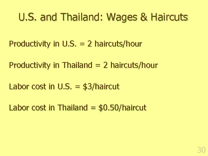 U. S. and Thailand: Wages & Haircuts Productivity in U. S. = 2 haircuts/hour