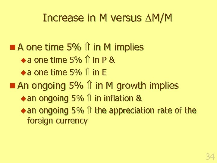 Increase in M versus M/M n A one time 5% in M implies u