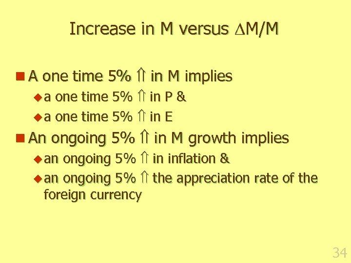 Increase in M versus M/M n A one time 5% in M implies u
