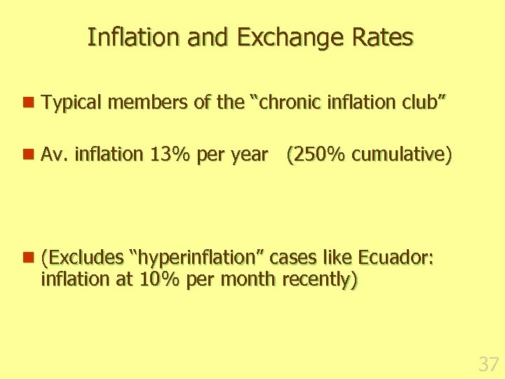 "Inflation and Exchange Rates n Typical members of the ""chronic inflation club"" n Av."