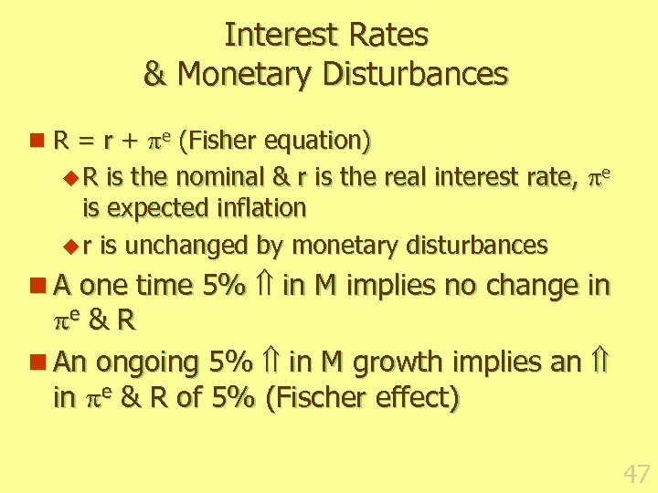 Interest Rates & Monetary Disturbances n R = r + e (Fisher equation) is