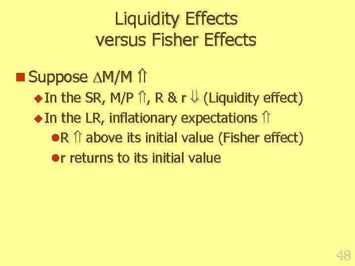 Liquidity Effects versus Fisher Effects n Suppose M/M u In the SR, M/P ,