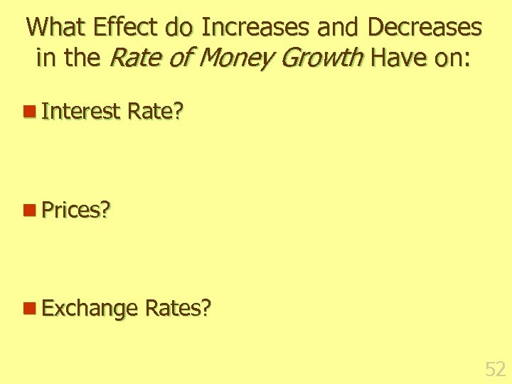 What Effect do Increases and Decreases in the Rate of Money Growth Have on: