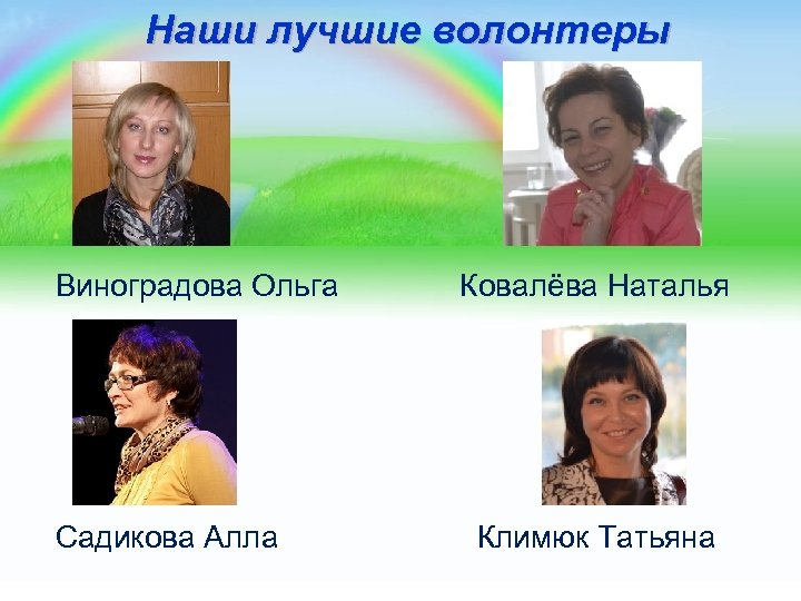 Наши лучшие волонтеры Виноградова Ольга Ковалёва Наталья Садикова Алла Климюк Татьяна