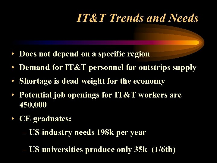 IT&T Trends and Needs • Does not depend on a specific region • Demand