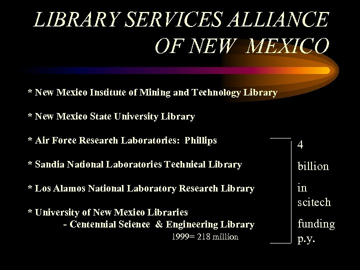 LIBRARY SERVICES ALLIANCE OF NEW MEXICO * New Mexico Institute of Mining and Technology