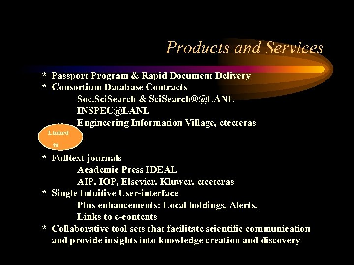 Products and Services * Passport Program & Rapid Document Delivery * Consortium Database Contracts