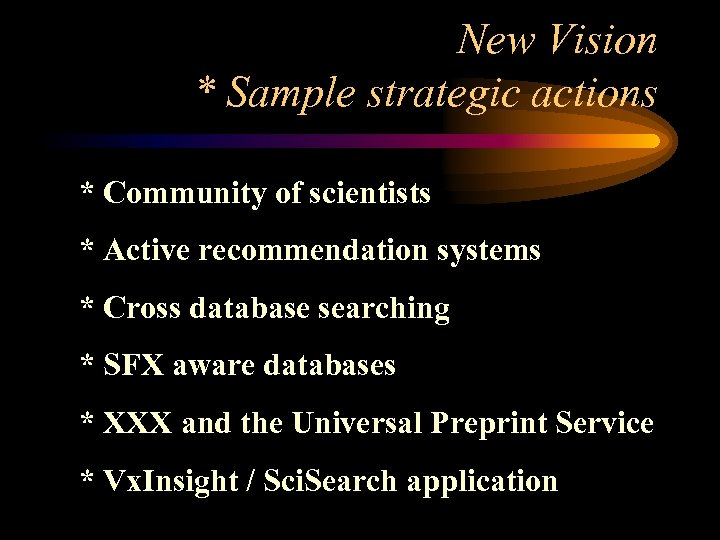 New Vision * Sample strategic actions * Community of scientists * Active recommendation systems