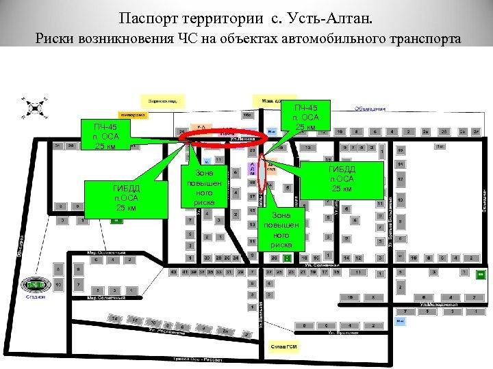 Паспорт территории с. Усть-Алтан. Риски возникновения ЧС на объектах автомобильного транспорта ПЧ-45 п. ОСА