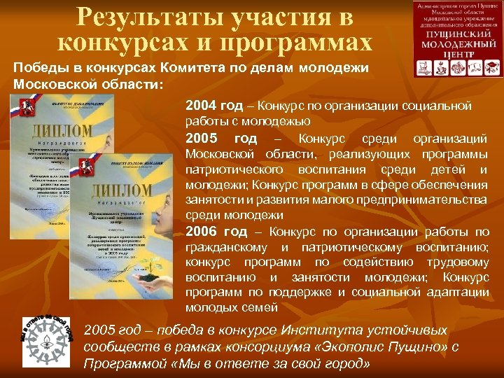 Результаты участия в конкурсах и программах Победы в конкурсах Комитета по делам молодежи Московской