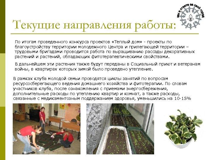 Текущие направления работы: По итогам проведенного конкурса проектов «Теплый дом» - проекты по благоустройству