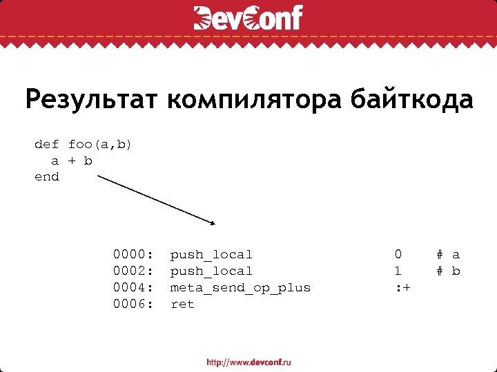 Результат компилятора байткода def foo(a, b) a + b end 0000: push_local 0 #