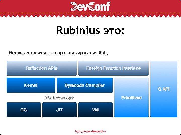 Rubinius это: Имплементация языка программирования Ruby