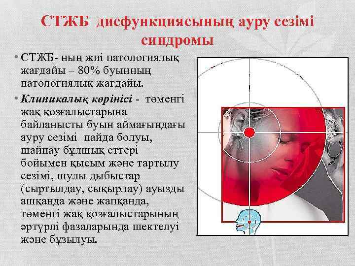 СТЖБ дисфункциясының ауру сезімі синдромы • СТЖБ- ның жиі патологиялық жағдайы – 80% буынның