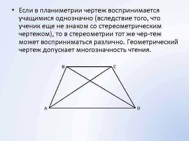 • Если в планиметрии чертеж воспринимается учащимися однозначно (вследствие того, что ученик еще