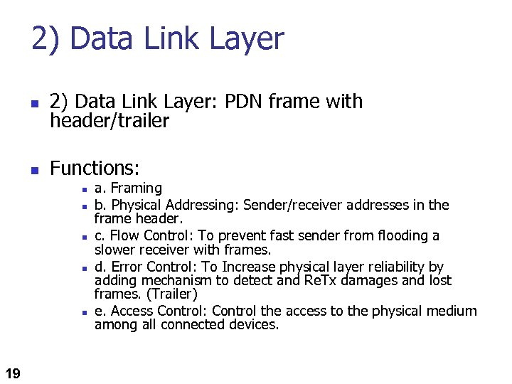 2) Data Link Layer n 2) Data Link Layer: PDN frame with header/trailer n