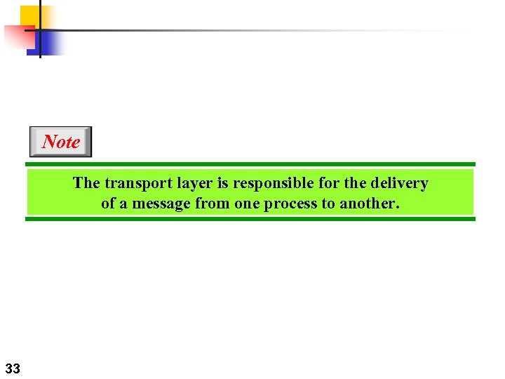 Note The transport layer is responsible for the delivery of a message from one