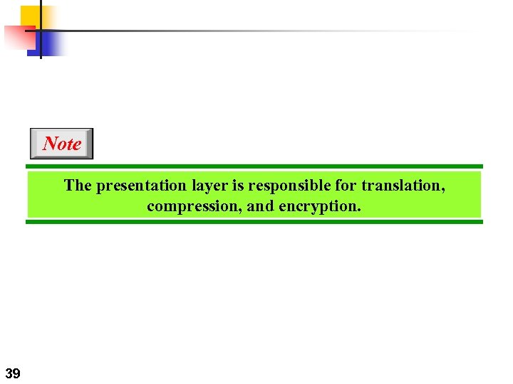 Note The presentation layer is responsible for translation, compression, and encryption. 39