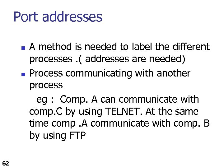Port addresses n n 62 A method is needed to label the different processes.