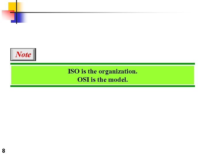 Note ISO is the organization. OSI is the model. 8