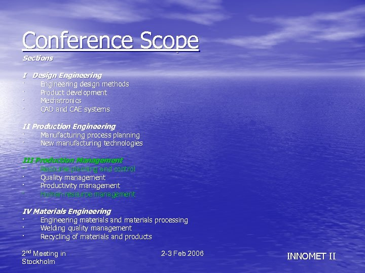 Conference Scope Sections I Design Engineering · Engineering design methods · Product development ·