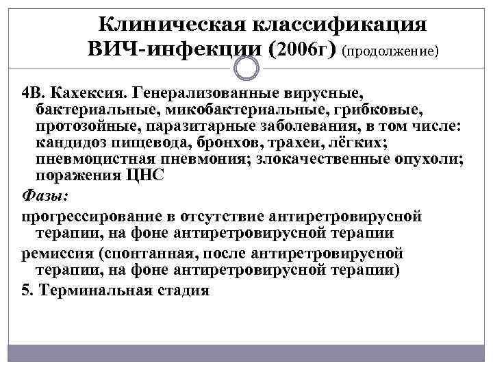 Клиническая классификация ВИЧ-инфекции (2006 г) (продолжение) 4 В. Кахексия. Генерализованные вирусные, бактериальные, микобактериальные, грибковые,