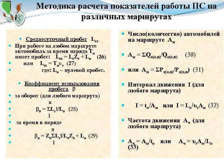 Методика расчета показателей работы ПС на различных маршрутах Среднесуточный пробег Lсс При работе на