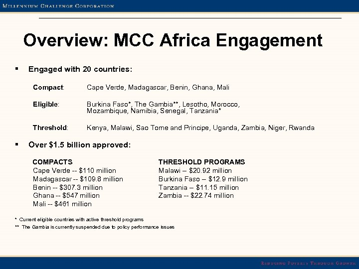 Overview: MCC Africa Engagement § Engaged with 20 countries: Compact: Eligible: Burkina Faso*, The