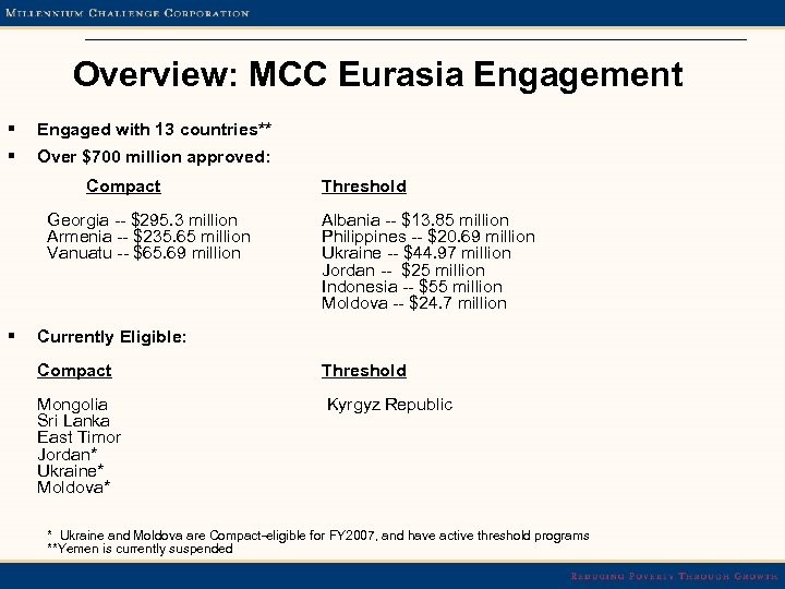 Overview: MCC Eurasia Engagement § Engaged with 13 countries** § Over $700 million approved: