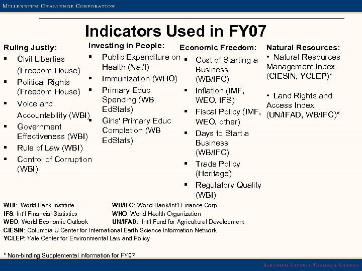 Indicators Used in FY 07 Investing in People: Economic Freedom: Ruling Justly: § Public