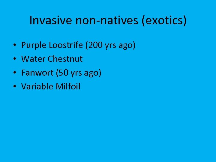 Invasive non-natives (exotics) • • Purple Loostrife (200 yrs ago) Water Chestnut Fanwort (50