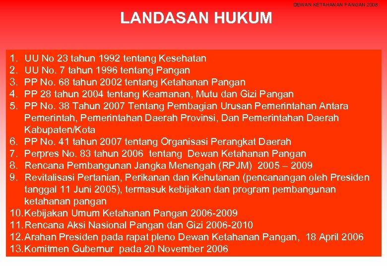 DEWAN KETAHANAN PANGAN 2008 LANDASAN HUKUM 1. 2. 3. 4. 5. UU No 23
