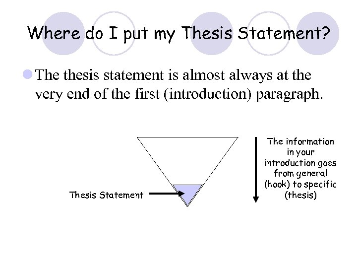 Where do I put my Thesis Statement? l The thesis statement is almost always