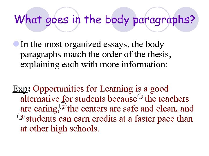 What goes in the body paragraphs? l In the most organized essays, the body
