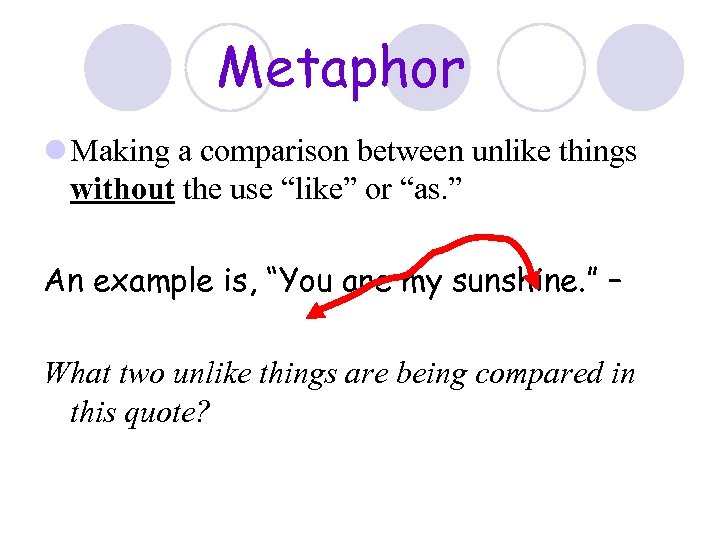 """Metaphor l Making a comparison between unlike things without the use """"like"""" or """"as."""