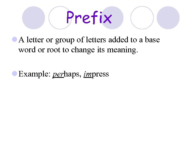 Prefix l A letter or group of letters added to a base word or