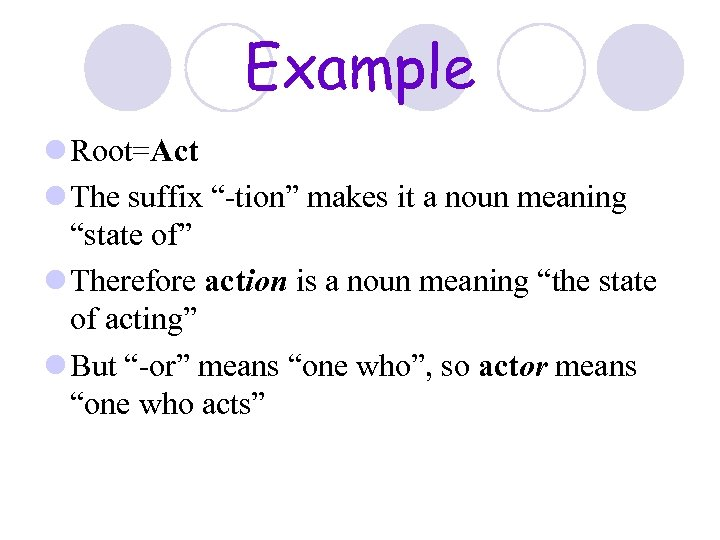 """Example l Root=Act l The suffix """"-tion"""" makes it a noun meaning """"state of"""""""