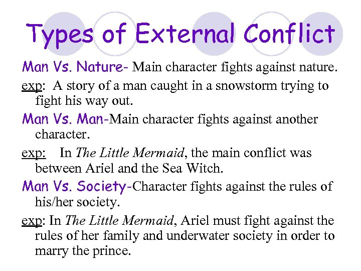 Types of External Conflict Man Vs. Nature- Main character fights against nature. exp: A
