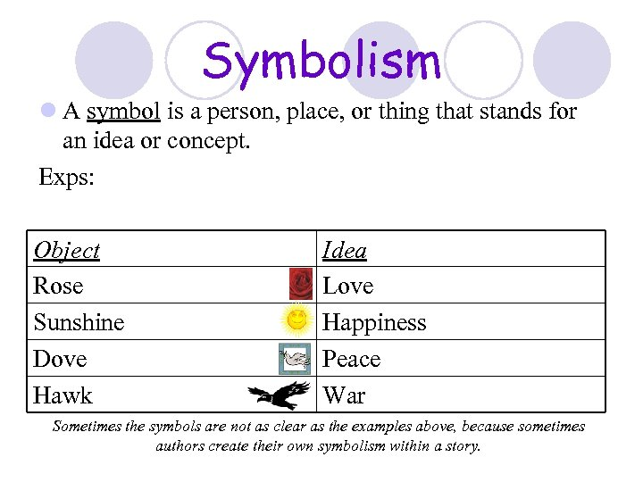 Symbolism l A symbol is a person, place, or thing that stands for an