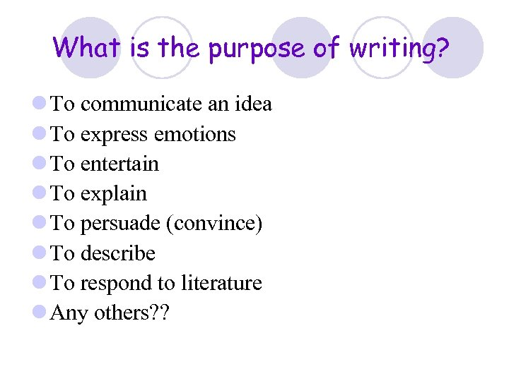 What is the purpose of writing? l To communicate an idea l To express