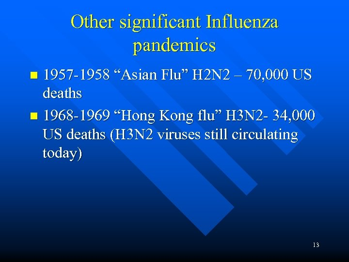 "Other significant Influenza pandemics 1957 -1958 ""Asian Flu"" H 2 N 2 – 70,"