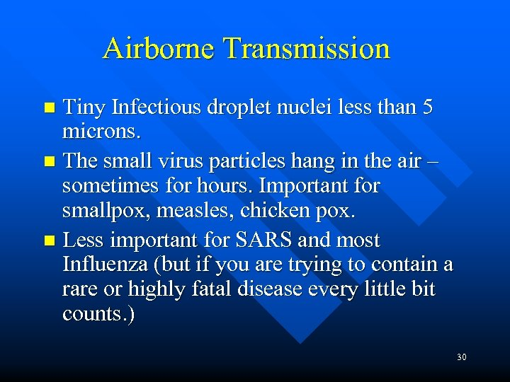 Airborne Transmission Tiny Infectious droplet nuclei less than 5 microns. n The small virus