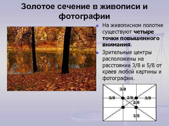 Золотое сечение в живописи и фотографии n n На живописном полотне существуют четыре точки