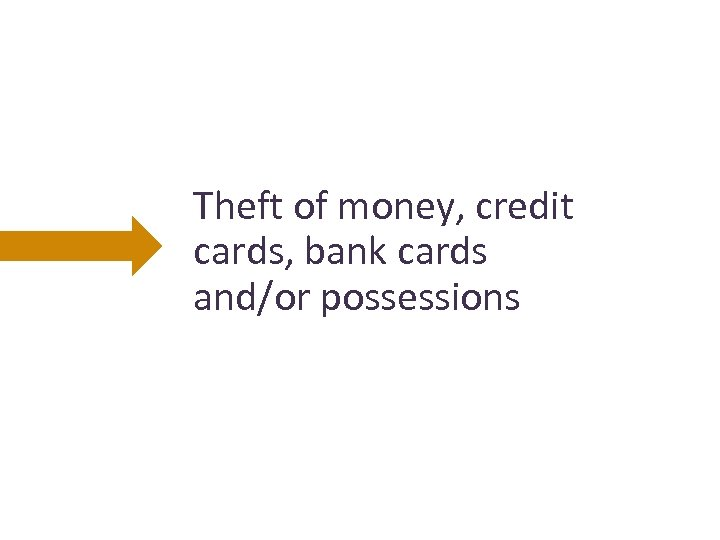 Theft of money, credit cards, bank cards and/or possessions