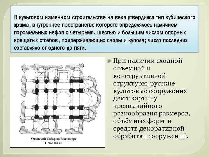 В культовом каменном строительстве на века утвердился тип кубического храма, внутреннее пространство которого определялось