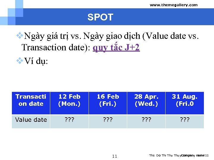 www. themegallery. com SPOT v. Ngày giá trị vs. Ngày giao dịch (Value date