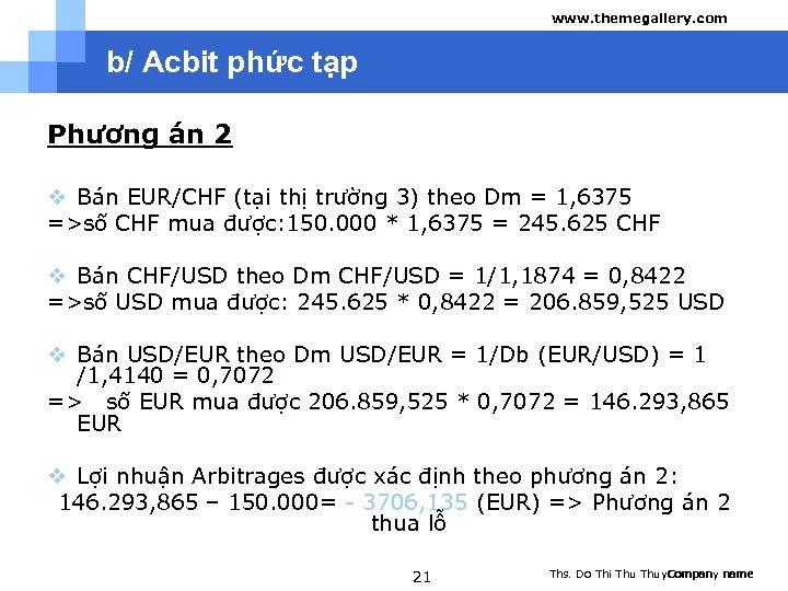 www. themegallery. com b/ Acbit phức tạp Phương án 2 v Bán EUR/CHF (tại