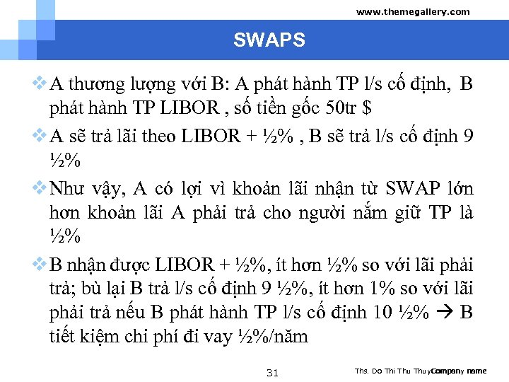 www. themegallery. com SWAPS v A thương lượng với B: A phát hành TP